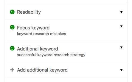 multiple keywords Yoast SEO premium