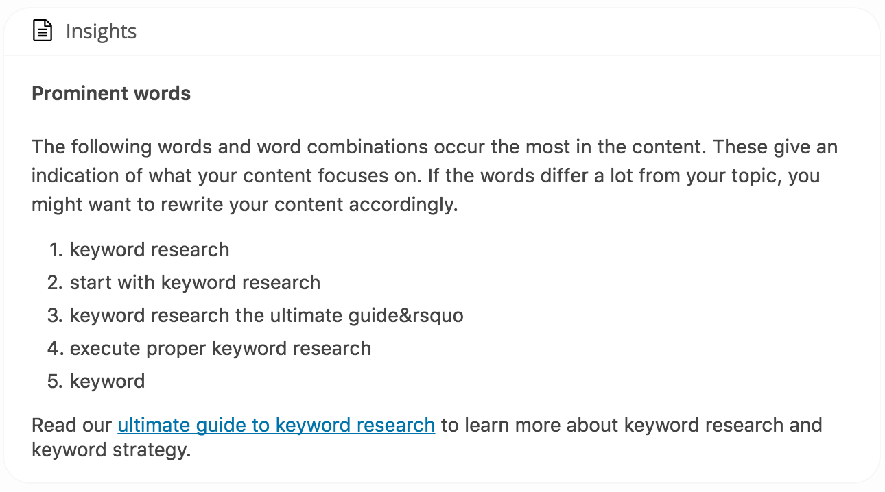 Yoast insights in Yoast SEO keyword research