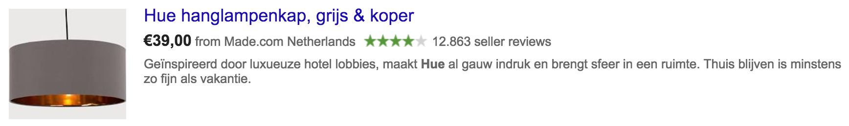 rating of shop in SERP
