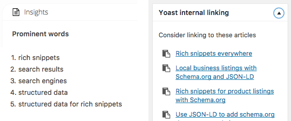 Yoast Insights and Internal Linking
