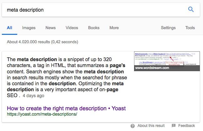 meta description featured snippet