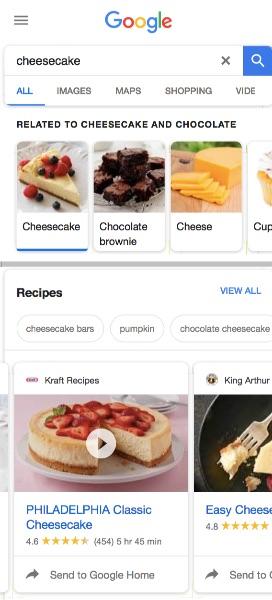 mobile rich results recipe