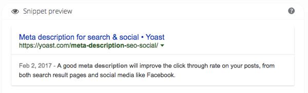 meta description in Yoast SEO snippet preview