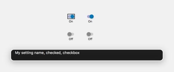 My setting name, checked, checkbox