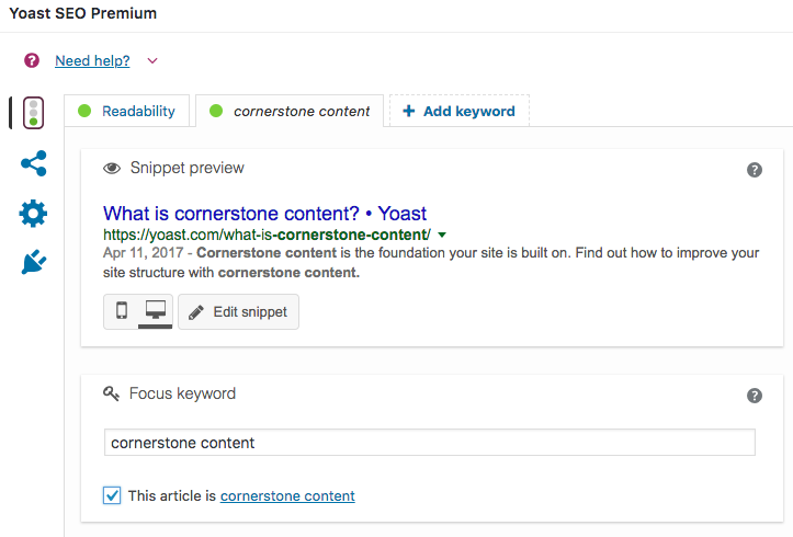 yoast seo meta box cornerstone content