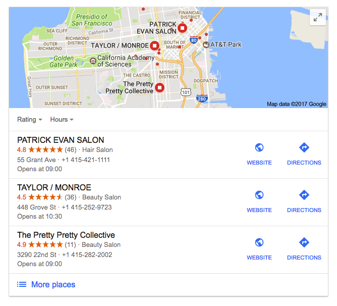 example of a 3-pack local seo