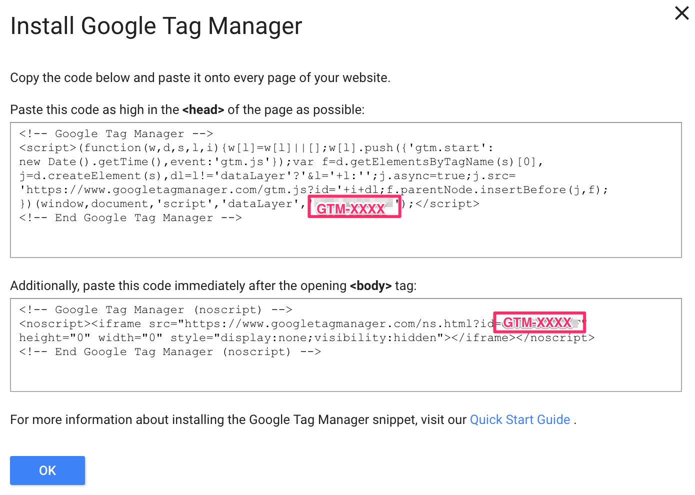 install Google Tag manager on your site