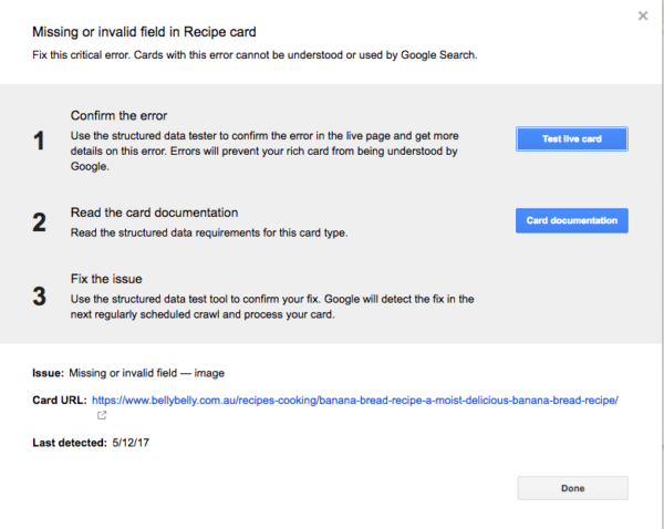 Google search console cards popup