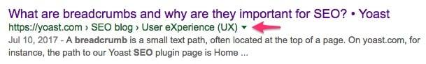 breadcrumb seo google example