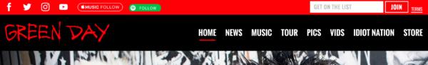 Website menu: greenday.com