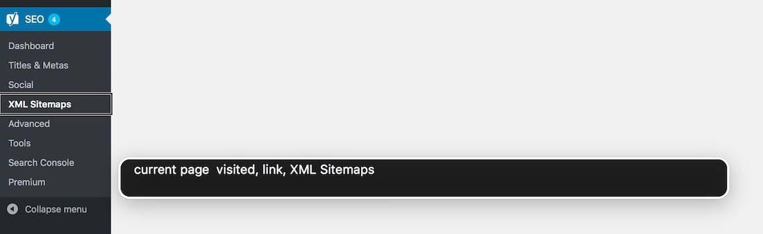aria-current in the WordPress admin menu