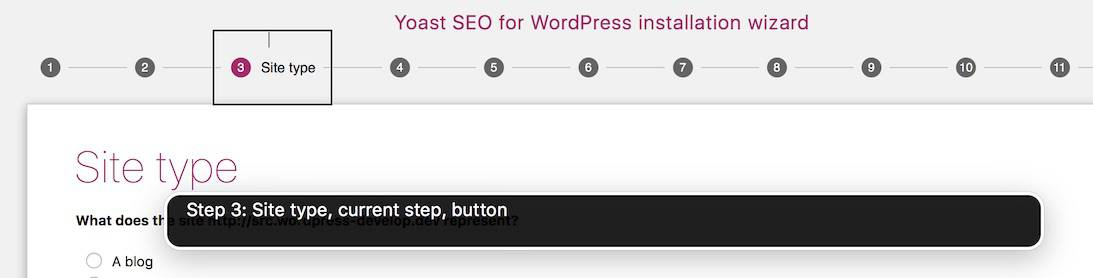 aria-current in the Yoast SEO Configuration wizard