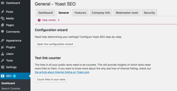 Where to find the Yoast SEO configuration wizard