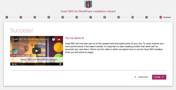 Yoast SEO configuration wizard: finished