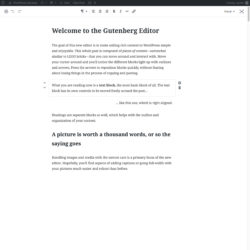 Gutenberg mockup - distraction free mode