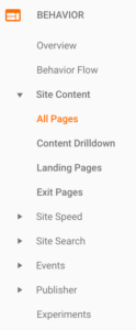 Behavior tab in Google Analytics