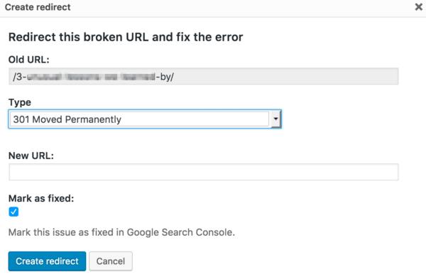redirect and fix crawl errors in Yoast SEO