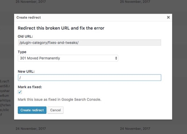 edit redirects search console yoast seo