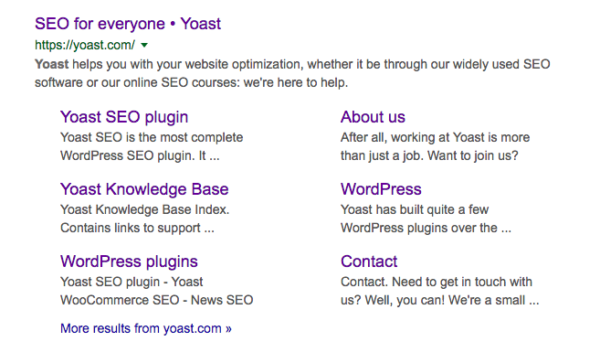sitelinks in the results pages for yoast SEO