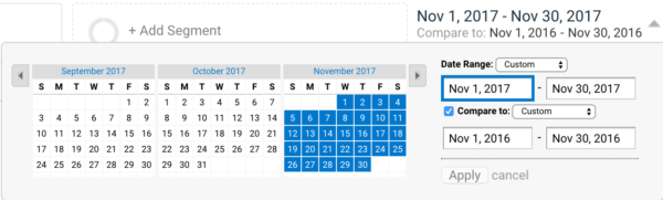 Compare dates in Google Analytics