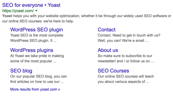 Site links for Yoast