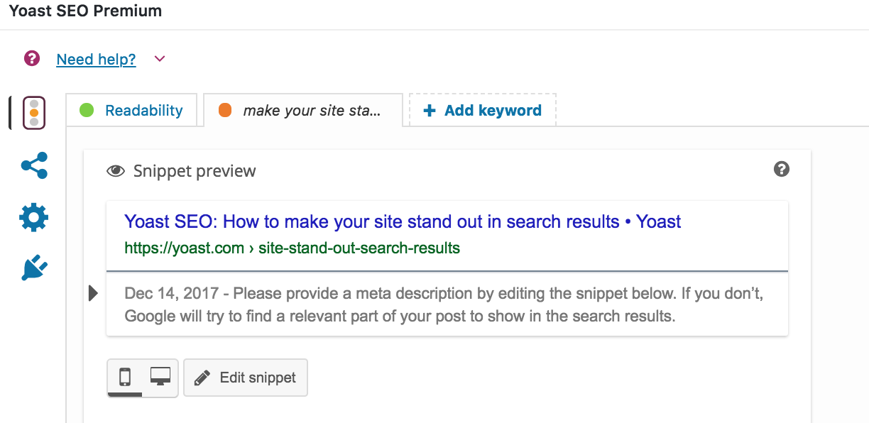snippet preview title and meta description