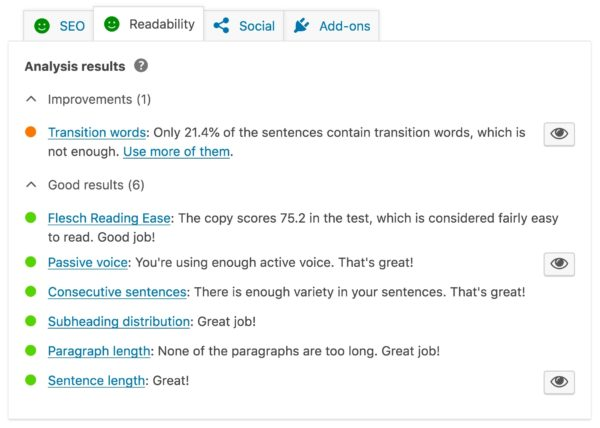 The readability checks in Yoast sEO, a useful content marketing tool