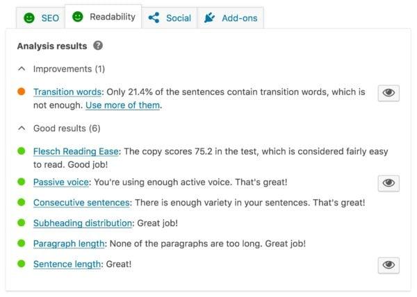 De leesbaarheidcontroles in Yoast sEO
