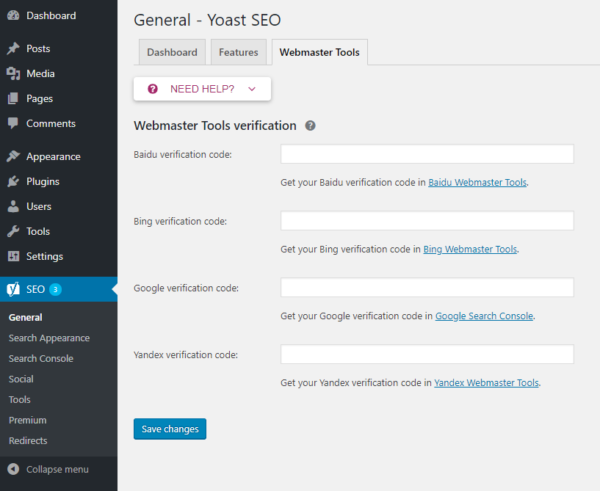 Use YOAST SEO to confirm Google Search Console