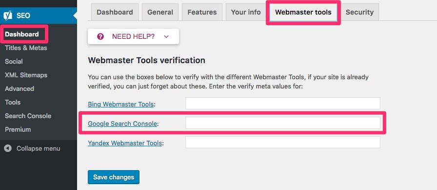 Yoast SEO webmster tools