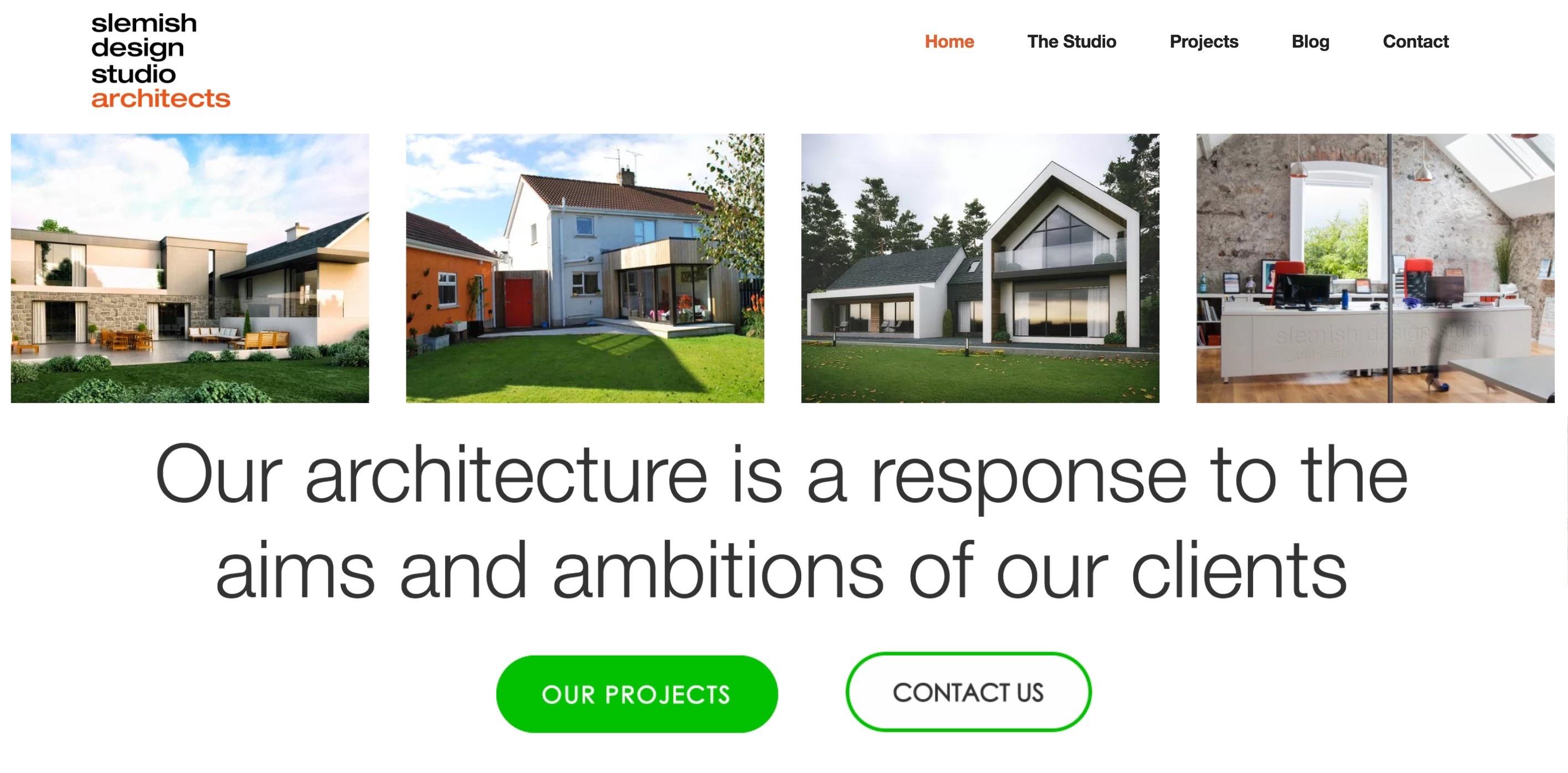 Homepage example of Slemish Design Studio Architects