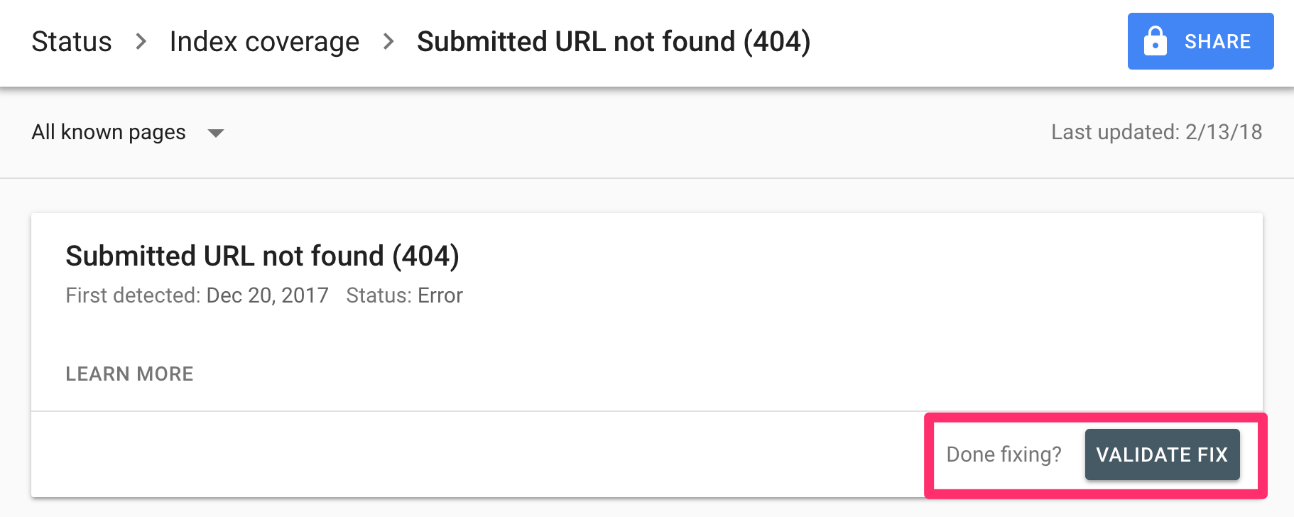 Submitted URL not found (404)