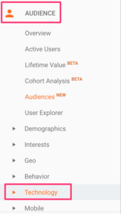 Technology report in Google Analytics