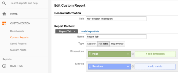 hit + session level report in Google Analytics