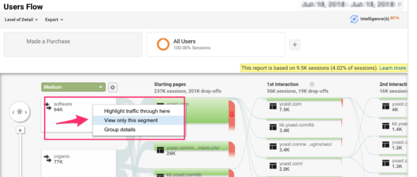 Viewing one segment in Users Flows in Google Analytics