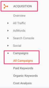 campaigns report in Google Analytics