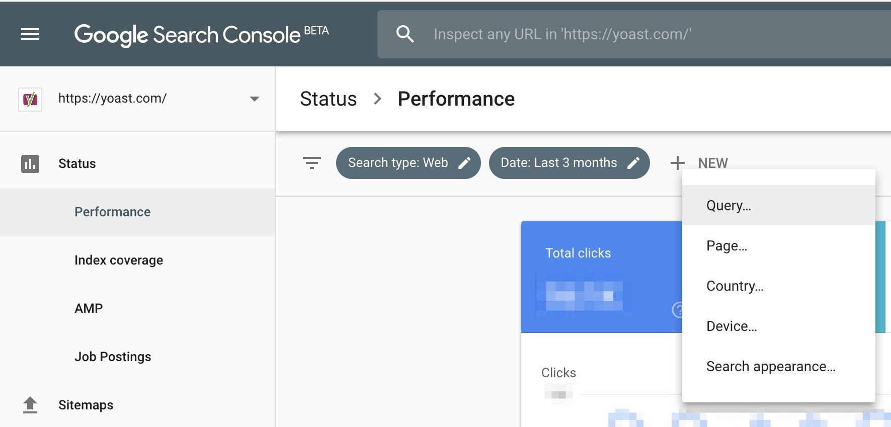 Search Console Performance section