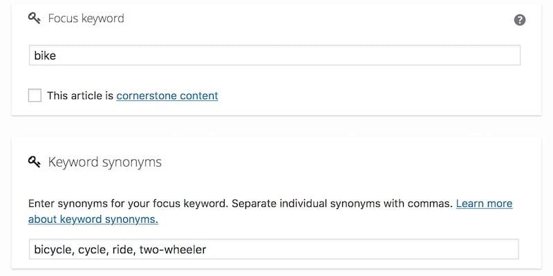 synonyms in Yoast SEO 7.8