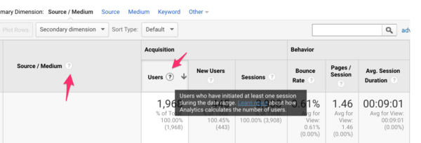 Hover over question marks in Google Analytics