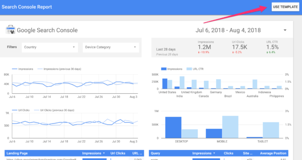 Use Search Console Report template