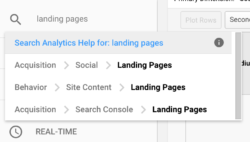 search navigation in Google Analytics