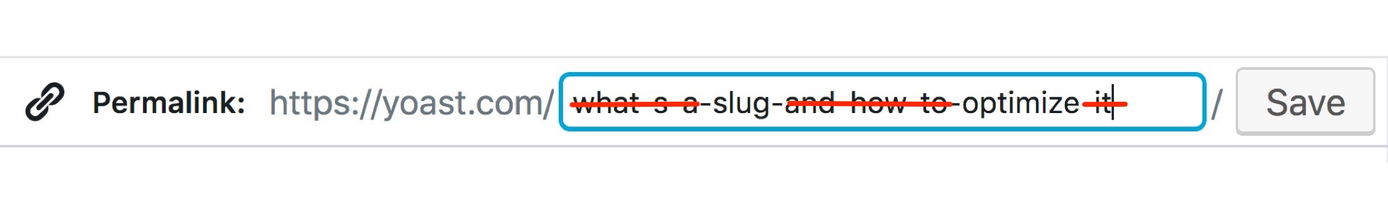 Slug without function words