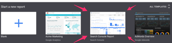 use Google Search Console template in Google Data Studio