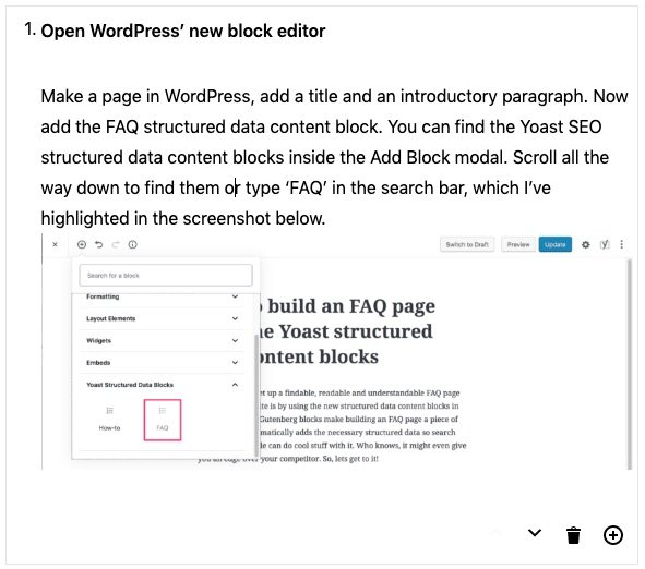 full howto content block step
