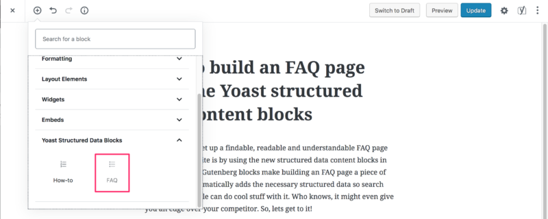yoast seo structured data content blocks FAQ