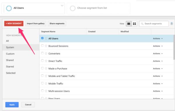 Click on New Segment in Google Analytics