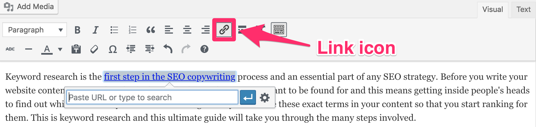 Link icon position in WordPress