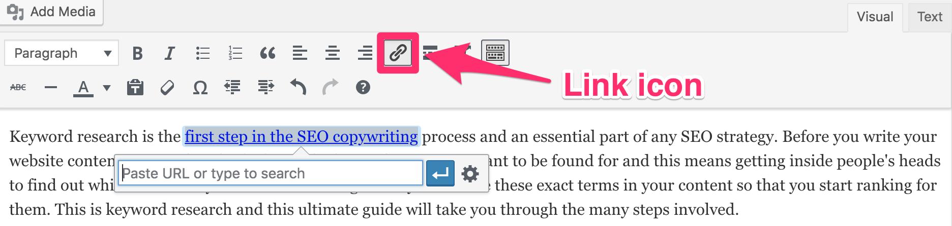 链接WordPress中的图标位置