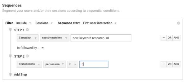 Example of sequence segments in Google Analytics