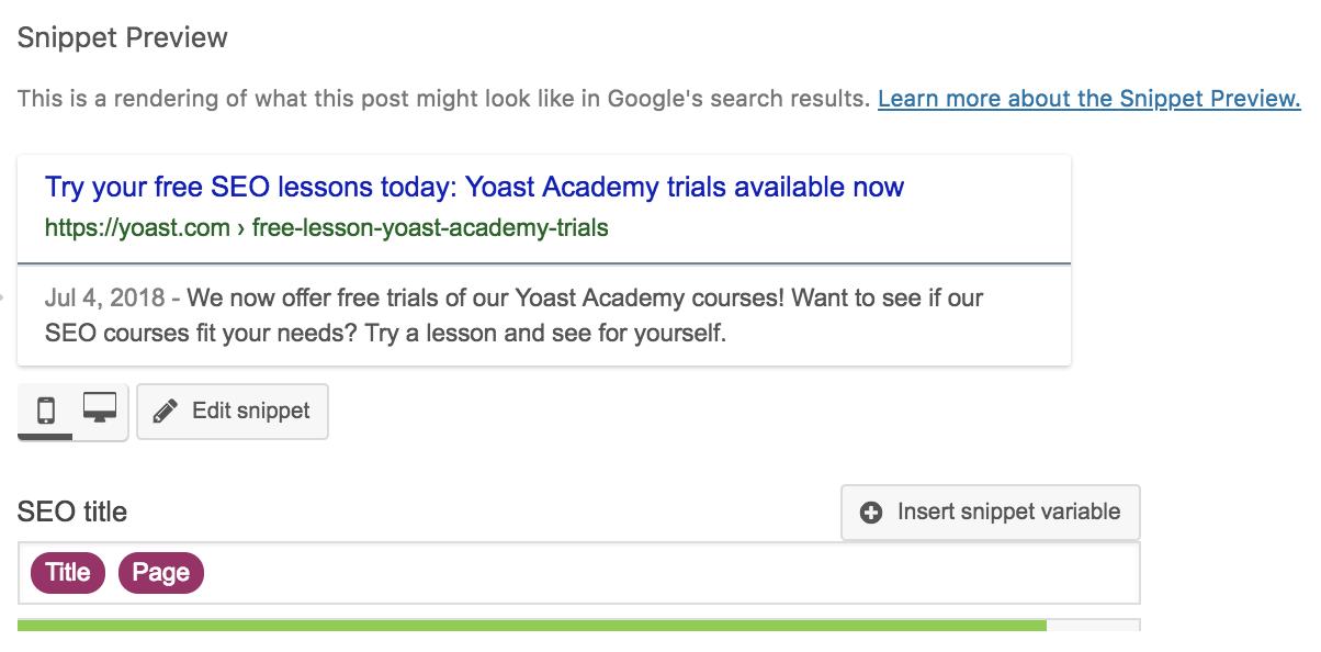 snippet preview in Yoast SEO plugin